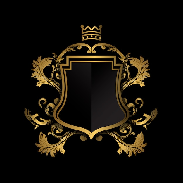 Emblema dorato su sfondo nero Vettore gratuito