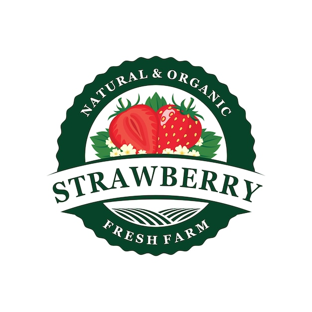 Emblema logo fattoria di fragole Vettore Premium