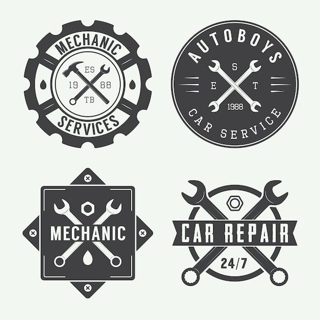 Emblema meccanico e logo. Vettore Premium