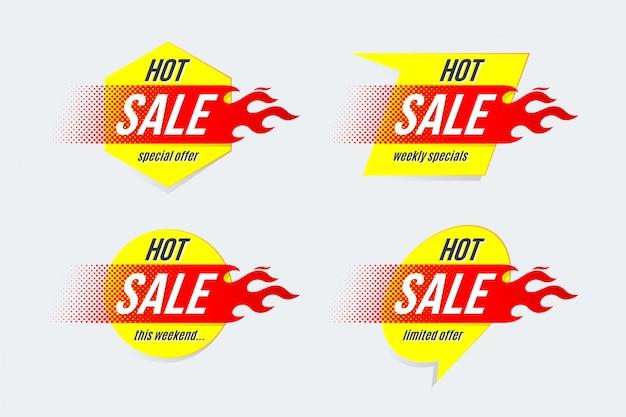 Emblema modello di etichette di offerta di offerta di prezzo di vendita calda Vettore Premium