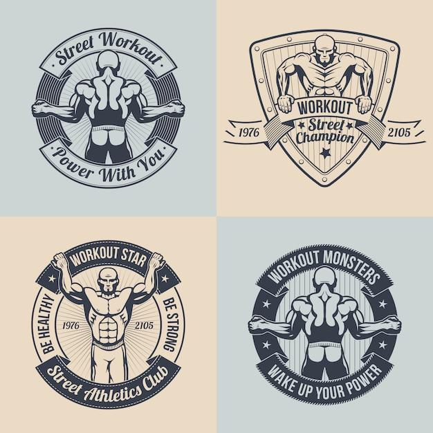 Emblema street workout club. Vettore Premium