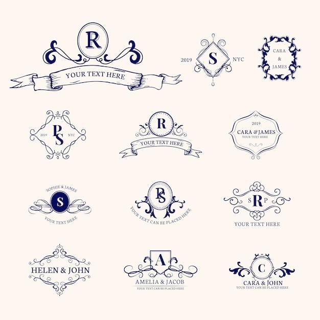 Emblemi con le iniziali impostate Vettore gratuito