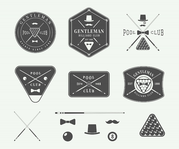 Emblemi da biliardo vintage Vettore Premium