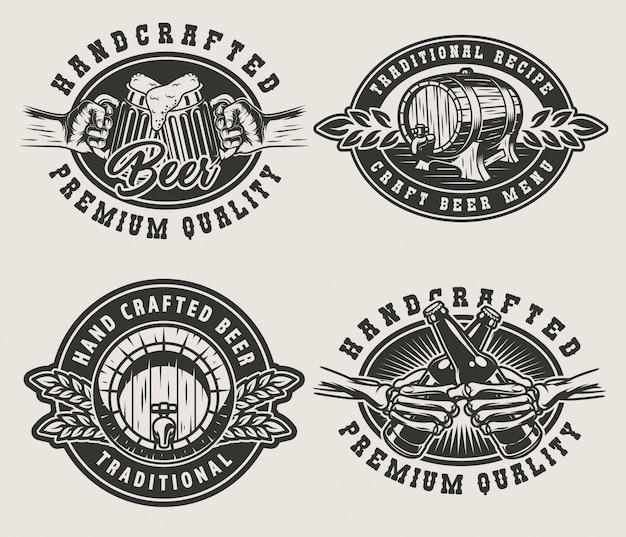 Emblemi della birra vintage Vettore gratuito