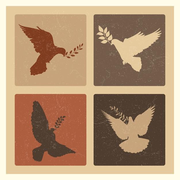 Emblemi della siluetta della colomba della pace Vettore Premium