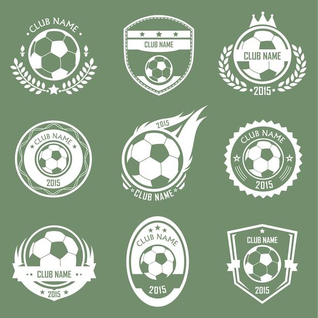 Emblemi di calcio Vettore Premium