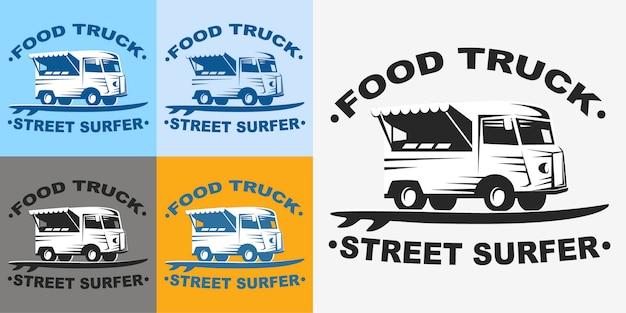Emblemi di camion di cibo e logo con tavola da surf. camion di cibo surfer di strada. Vettore Premium