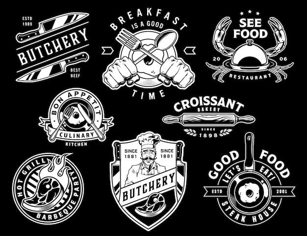 Emblemi di cottura monocromatici vintage Vettore gratuito