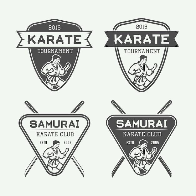 Emblemi di karate Vettore Premium
