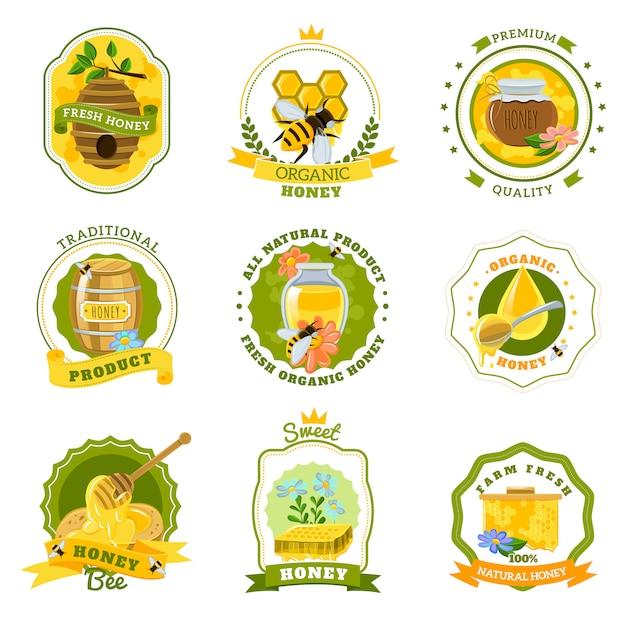 Emblemi di miele impostati Vettore gratuito
