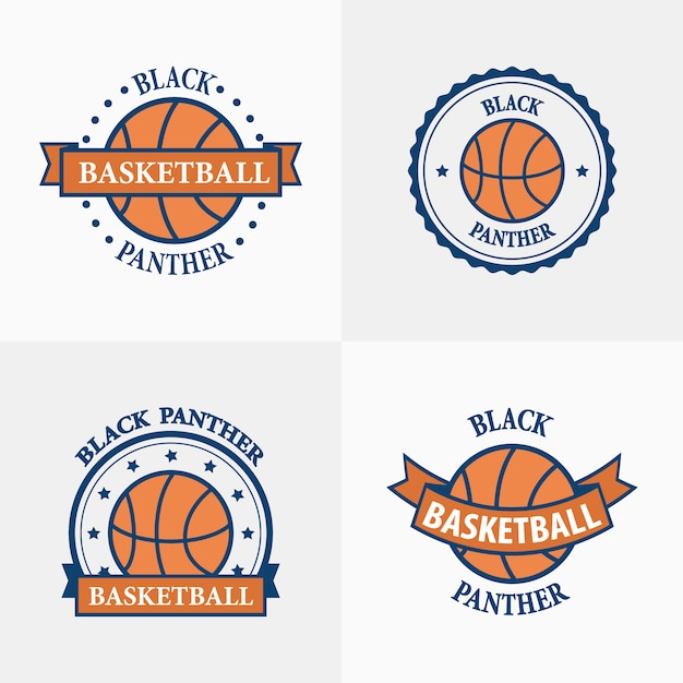 Emblemi di squadra sport basket Vettore Premium
