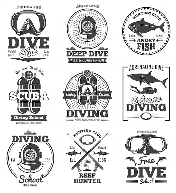 Emblemi ed etichette d'annata del club di immersione subacquea di immersione subacquea. Vettore Premium