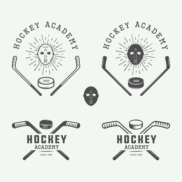 Emblemi, loghi, distintivi dell'hockey Vettore Premium