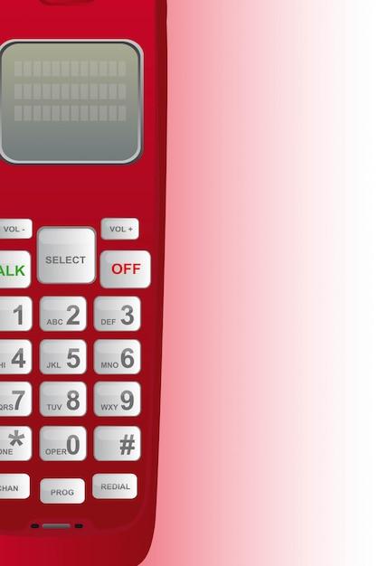 Emergenza telefono rosso con illustrazione vettoriale di spazio copia Vettore Premium