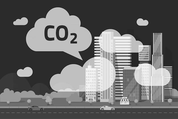 Emissioni di co2 dalla grande città illustrazione in stile cartoon piatta Vettore Premium