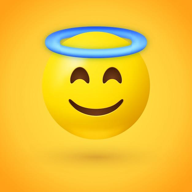 Emoji angelo con aureola blu sopra la testa Vettore Premium