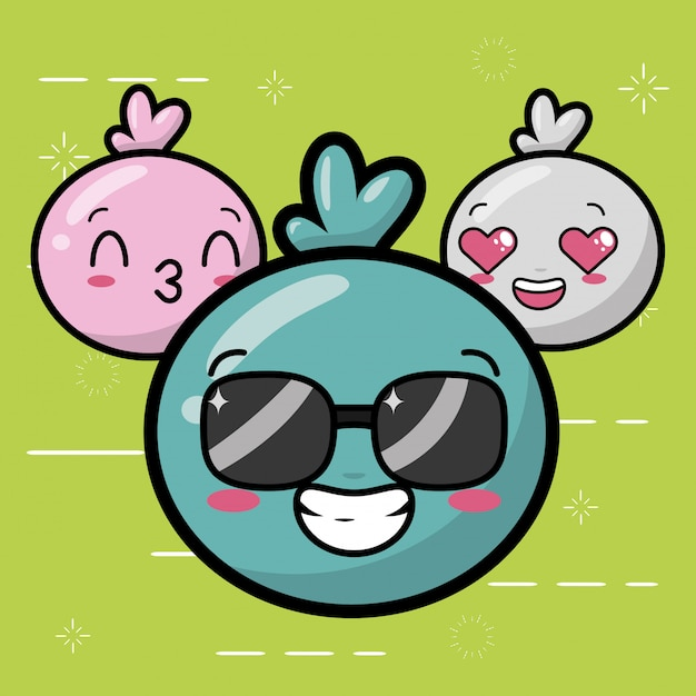 Emoji felici, facce carine di kawaii Vettore gratuito