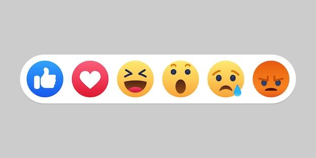 Emoji icona di reazioni di facebook Vettore Premium