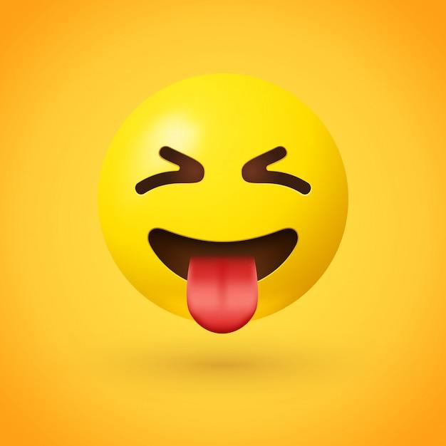 Emoji viso strabico con lingua Vettore Premium