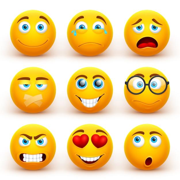Emoticon 3d gialli messi. icone divertenti del fronte di smiley con differenti espressioni. Vettore Premium