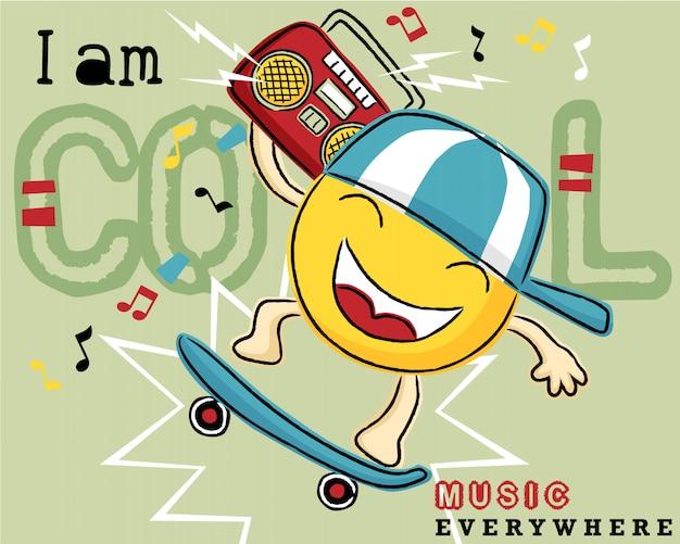Emoticon cartoon su skateboard con registratore a cassette Vettore Premium