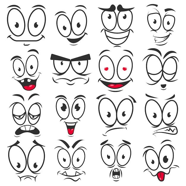 Emoticon del fumetto di sorriso e facce emoji icone vettoriali Vettore Premium