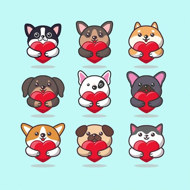 Emoticon di cura simpatici animali del cane kawaii che abbraccia un cuore rosso Vettore Premium