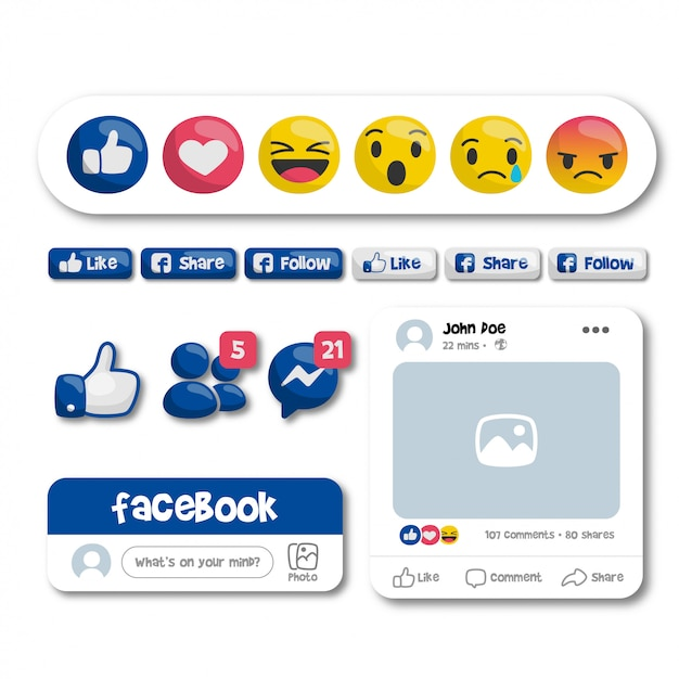 Emoticon e pulsanti di facebook Vettore Premium