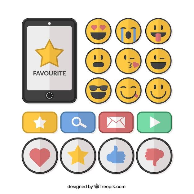 Emoticons e gli elementi della collezione di social networking in design piatto Vettore gratuito