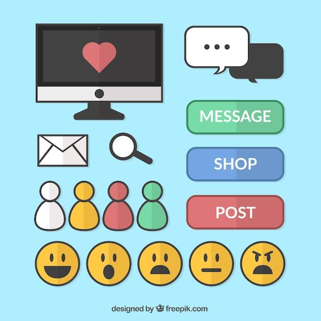 Emoticons e gli elementi della collezione reti sociali Vettore gratuito