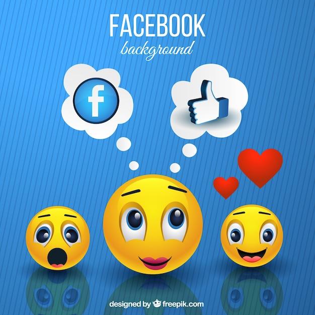 Emoticons sfondo e simboli facebook Vettore gratuito