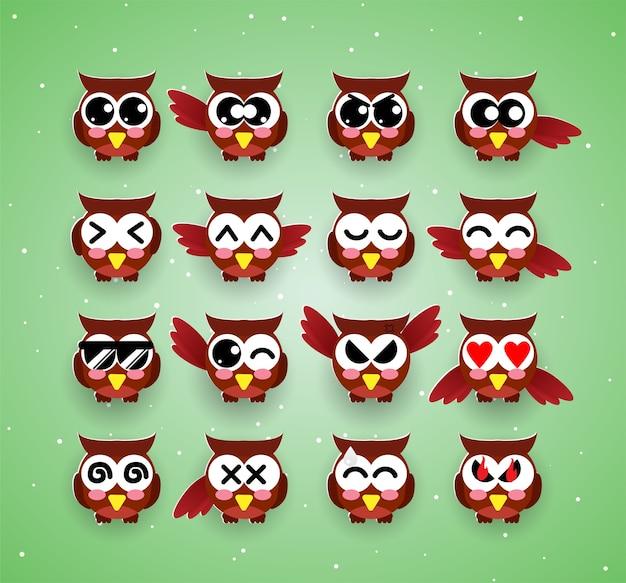 Emozione di kawaii gufo carino, emoji, halloween Vettore Premium