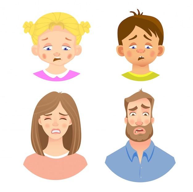 Emozioni del volto umano Vettore Premium