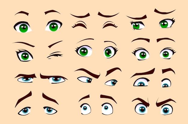 Emozioni dell'uomo e della donna. set di occhi. Vettore Premium