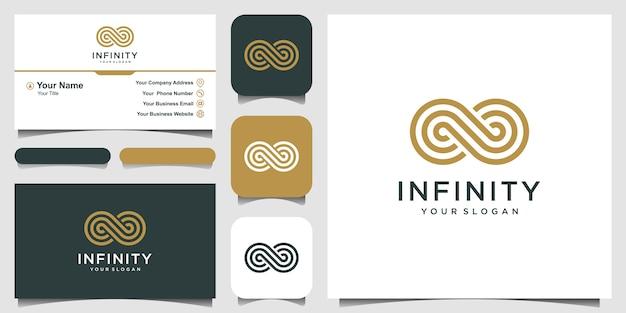 Endless infinity loop con simbolo di stile line art, speciale concettuale. biglietto da visita Vettore Premium