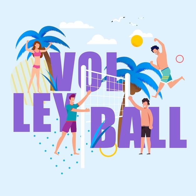Enormi lettere di pallavolo e persone felici dei cartoni animati. soddisfatti uomini e donne in costume da bagno che si divertono con il gioco da spiaggia Vettore Premium
