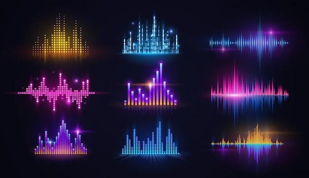Equalizzatori al neon di onde sonore di musica, tecnologia audio Vettore Premium