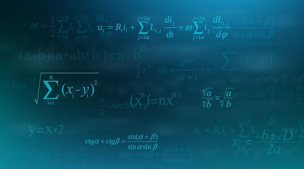 Equazione matematica, formule matematiche e aritmetiche. Vettore Premium