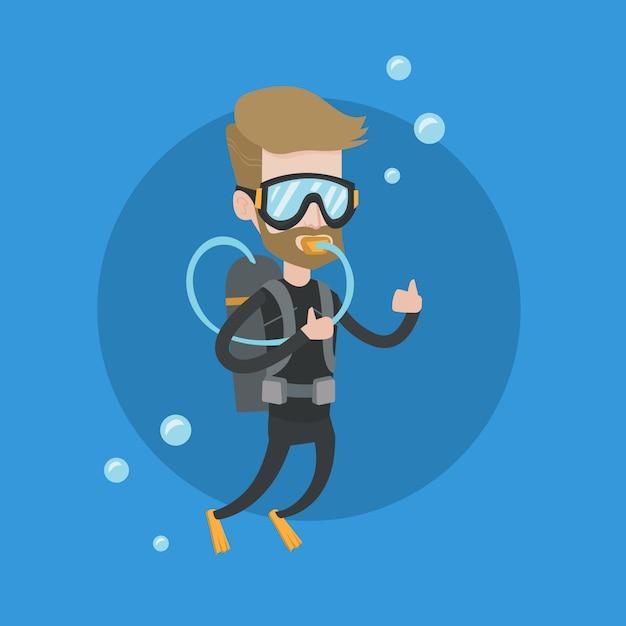 Equipaggi l'immersione con lo scuba e la mostra del segno giusto. Vettore Premium