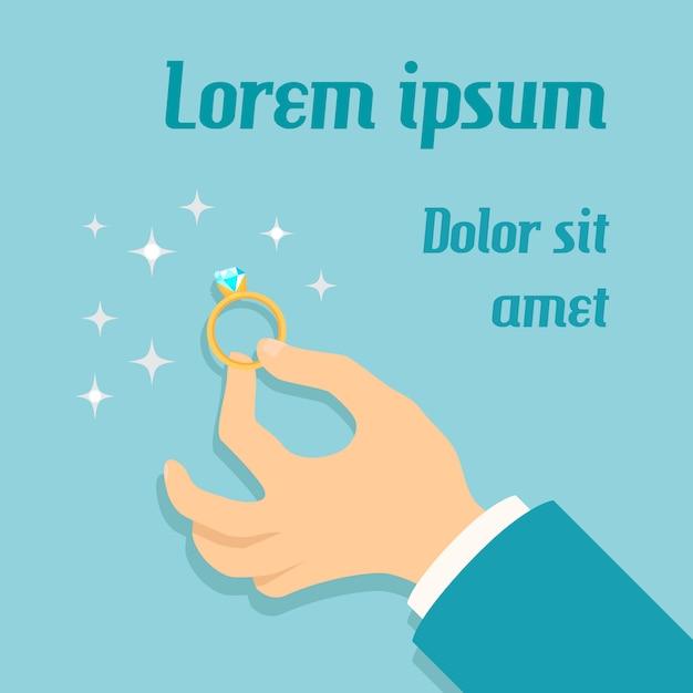 Equipaggi la mano che tiene l'anello di oro costoso con il manifesto di proposta di matrimonio di impegno del diamante Vettore gratuito