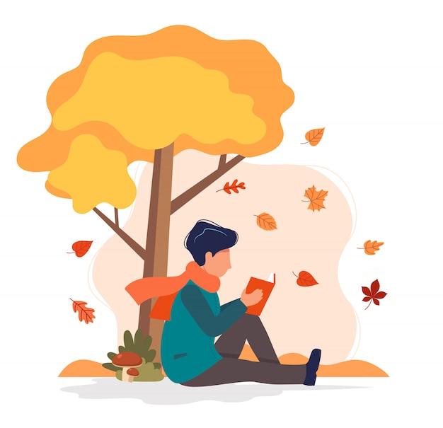 Equipaggi la seduta con il libro sotto l'albero in autunno. Vettore Premium