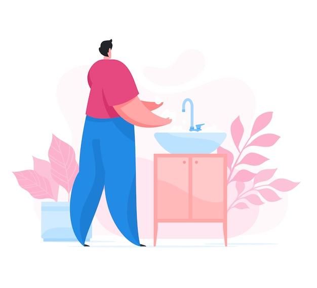Equipaggi le mani di lavaggio e la rimozione dei germi sopra il lavandino Vettore Premium