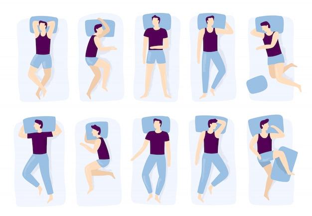 Equipaggi le pose di sonno, la posa di sonno di notte, il posizionamento maschio addormentato sul letto e la posizione di sonno isolata Vettore Premium