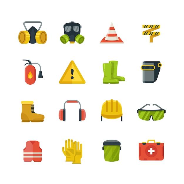 Equipaggiamento di protezione personale per le icone di vettore piatto lavoro sicurezza e sicurezza. attrezzature di sicurezza e protezione in stile illustrazione a colori Vettore Premium