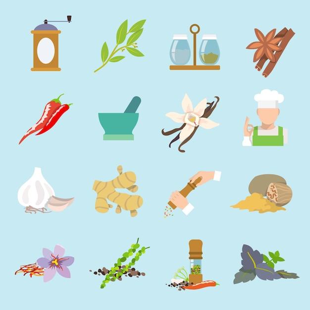 Erbe e spezie piatto icone set di zenzero peperoncino peperone aglio isolato illustrazione vettoriale. Vettore gratuito