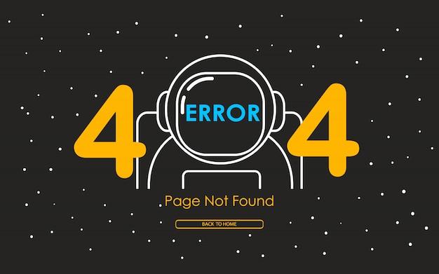Errore 404 con la linea di astronauta sullo sfondo della galassia Vettore Premium