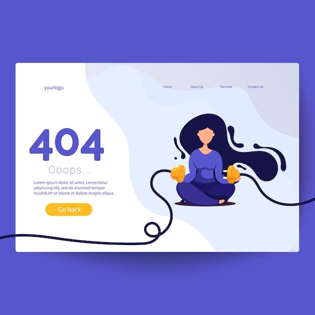 Errore 404 pagina non trovata. spina e presa elettrica scollegate donna Vettore Premium