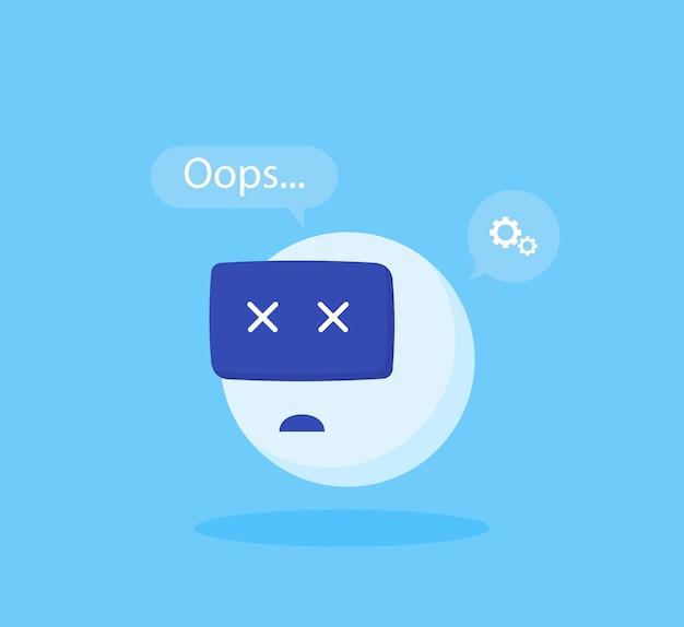 Errore di chatbot di concetto. illustrazione vettoriale moderno stile piatto Vettore Premium