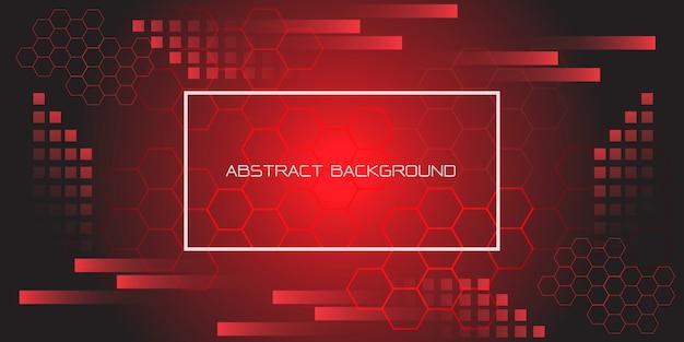 Esagono geometrico nero rosso con cornice futuristica di testo e cornice bianca. Vettore Premium