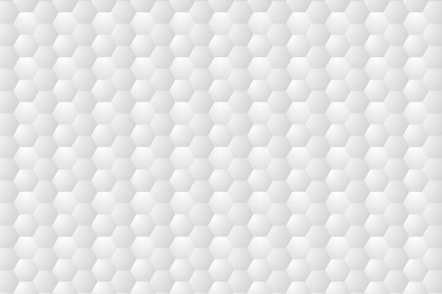 Esagono goffrato, sfondo bianco a nido d'ape Vettore Premium